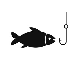 Fishing a fish and lure  art icon for apps and websites .