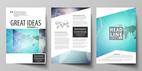 The vector illustration of editable layout of three A4 format modern covers design templates for brochure, magazine, flyer, booklet. Molecule structure, connecting lines and dots. Technology concept.