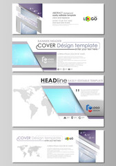 The minimalistic vector illustration of editable layout of social media, email headers, banner design templates in popular formats. Polygonal texture. Global connections, futuristic geometric concept.