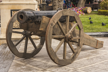 Fortress cannon mounted in the Central part of Baku city, Azerbaijan Republic