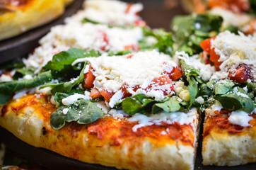 fresh italian pizza close up
