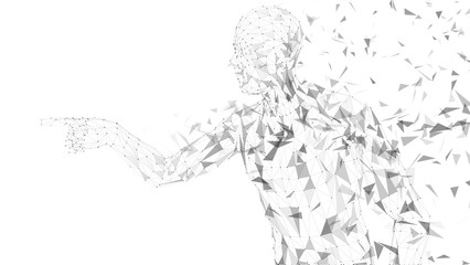 Conceptual abstract man touching or pointing to something. Connected lines, dots, triangles, particles on white background. Artificial intelligence concept. High technology vector digital background.