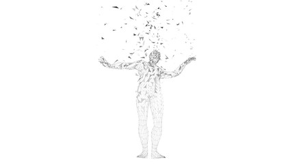 Conceptual abstract man. Connected lines, dots, triangles, particles on white background. Artificial intelligence concept. High technology vector digital background.