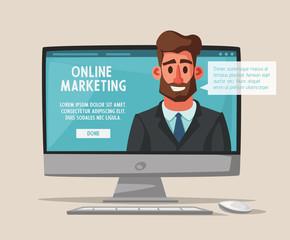 Online business. Funny character design. Cartoon vector illustration