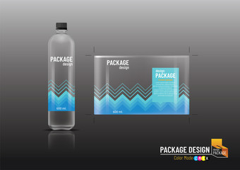 Labels & Plastic bottles, package design, mock up, Vector illustration