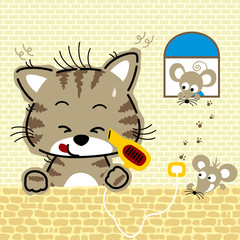 Nice cat cartoon with twin mouse