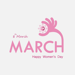 "Pink ""MARCH"" Typographical Design Elements. International women's day icon.Women's day symbol.Minimalistic design for international women's day concept.Vector illustration"