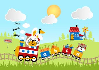 Journey on locomotive with funny animal cartoon