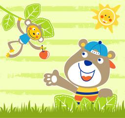 Jungle animals cartoon on striped background