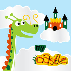 Funny dragon cartoon with castle in the blue sky