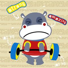 Hippo the funny lifter cartoon