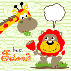 Lion and giraffe cartoon on striped background
