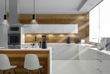 moderne helle Küche mit lichteinfall