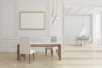 White dining room with piano and poster