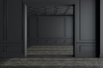 Black empty room interior, concrete floor