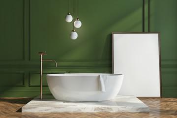 Green wall bathroom, poster