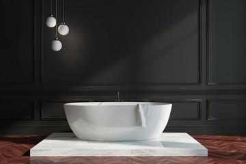 Black wall bathroom interior