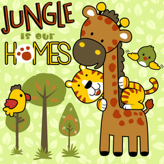 Jungle with funny animals cartoon