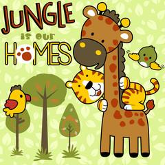 Jungle with funny animals cartoon