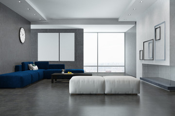 White and gray living room interior, posters