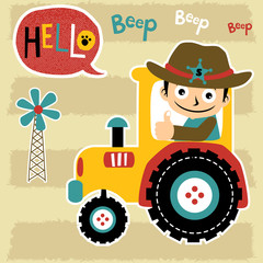 young farmer on yellow tractor cartoon