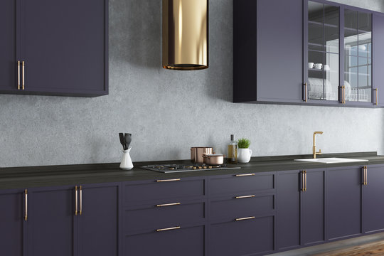 Concrete wall kitchen, purple countertops close up