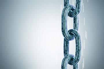 Vertical chain, a blockchain concept, gray