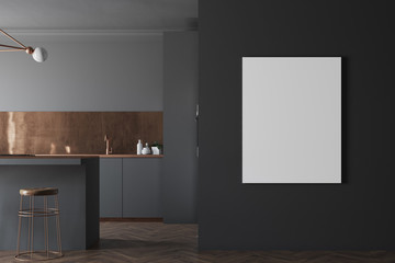Functional black and brown kitchen, poster