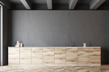 Dark gray and wooden kitchen idea