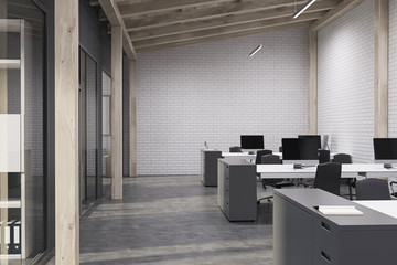 White brick open space office, concrete