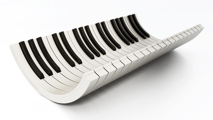 Curved piano keys isolated on white background. 3D illustration