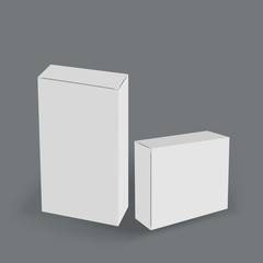 3D horizontal and vertical white boxes on gray background, mock up template ready for your design and advertising