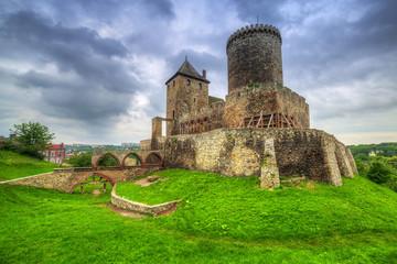 Medieval castle in Bedzin at dusk, Poland