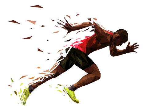 runner athlete sprint start explosive run vector illustration