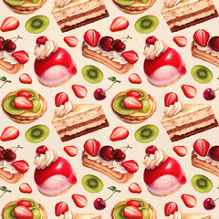Watercolor illustration of cakes with fruits. Seamless pattern