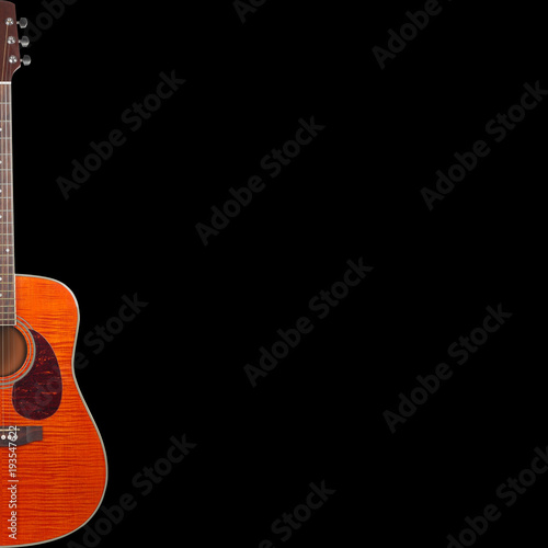 Musical Instrument Silhouette Tiger Flame Maple Acoustic Guitar