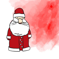 Santa Claus and red background painted