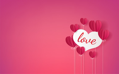 Concept of happy valentine day, Hot air balloons heart shape float on sky, Paper cut style