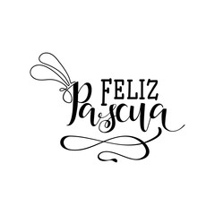Feliz Pascua. Lettering. Translation from Spanish: Happy Easter