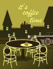 drawing of coffee with a car with a cityscape.