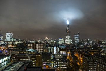 London, United Kingdom - 11 12 2016: Financial Business Center Cityscape Against Sky At Night In London, UK.