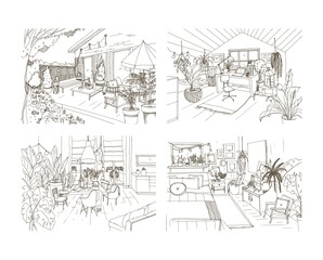 Collection of contour sketch drawings of cozy apartment furnished in Scandinavian hygge style. Set of rooms full of modern furniture. Stylish home interior design. Hand drawn vector illustration.