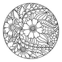 Outline round floral pattern for coloring the book page. Antistress coloring for adults and children. Doodle pattern in black and white. Hand draw vector illustration.