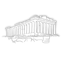 Greece Acropolis Temple Sketch