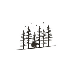 Vintage hand drawn forest concept with bear. Black monochrome design for prints, t shirts, travel mugs, tattoo. Retro hipster adventure style. Stock vector illustration isolated on white background