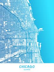 Chicago, Illinois - Map Poster Design