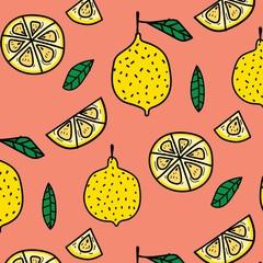 Lemon Fruit Pattern Background. Vector Illustration.