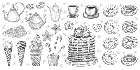 Bakery pastry sweets desserts objects collection shop cafe poster restaurant menu food.