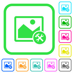 Image tools vivid colored flat icons
