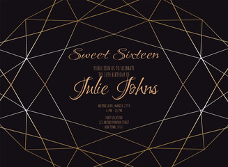 Gold gradient diamond shape for wedding or birthday invitation.